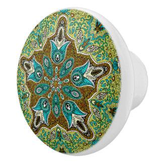 Colorful Vintage Floral Lace Geometric Pattern Ceramic Knob