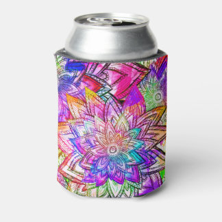 Colorful Vintage Floral Pattern Drawing Watercolor Can Cooler