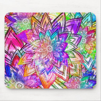 Colorful Vintage Floral Pattern Drawing Watercolor Mousepads