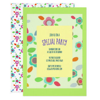 Colorful vintage flowers in green card