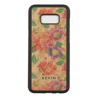 Colorful Vintage Flowers Pattern Monogram Carved Samsung Galaxy S8+ Case