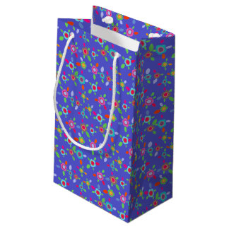 Colorful vintage flowers small gift bag