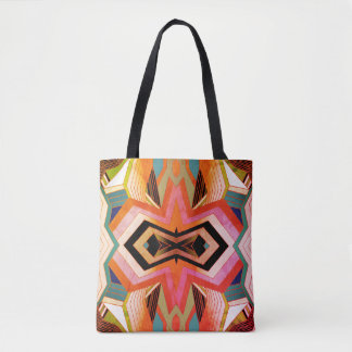 Colorful Vintage Geometric Vibes Tote Bag
