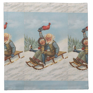 Colorful vintage gnomes on a sleigh cloth napkin