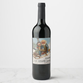 Colorful vintage gnomes on a sleigh wine label