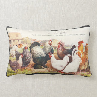 Colorful vintage group of chickens on throw pillow