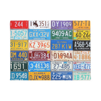 Colorful Vintage License Plates of the USA Doormat
