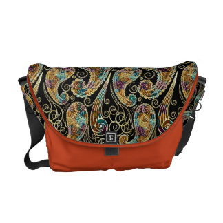 Colorful Vintage Ornate Paisley Design Commuter Bags