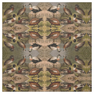 Colorful vintage painting of ducks fabric