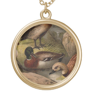 Colorful vintage painting of ducks gold plated necklace