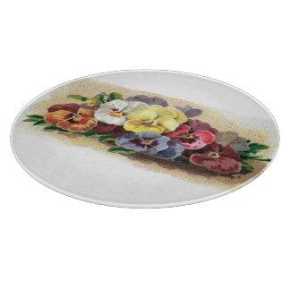 Colorful Vintage Pansies Floral Cutting Board