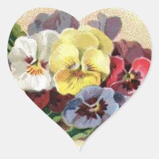 Colorful Vintage Pansies Floral Heart Stickers