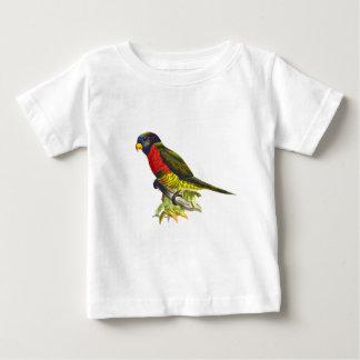Colorful vintage parrot illustration baby shirt