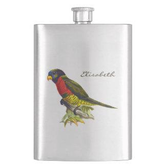 Colorful vintage parrot illustration hip flask