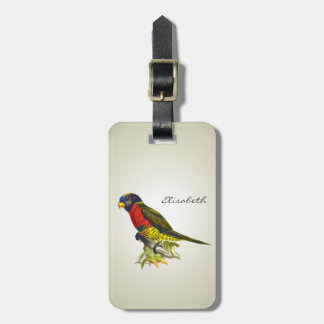 Colorful vintage parrot illustration luggage tag
