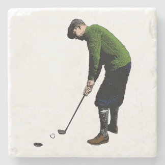 Colorful Vintage Photo Illustration of Golfer Stone Coaster
