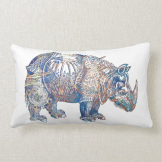 Colorful Vintage Rhino Illustration Lumbar Cushion
