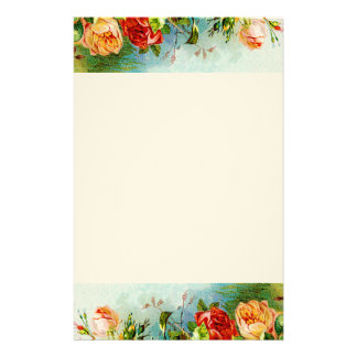 Colorful Vintage Roses Custom Stationery