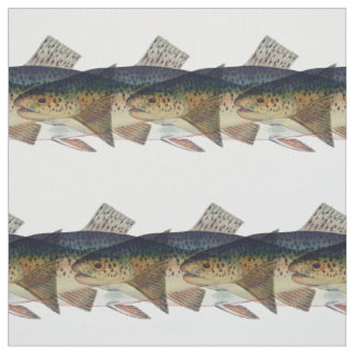 Colorful vintage salmon illustration fabric