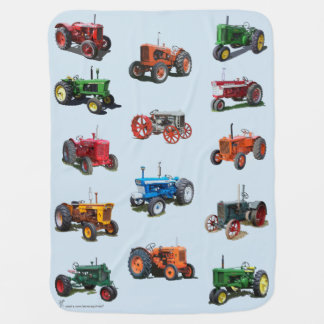 Colorful Vintage Tractor Blanket - blue Pram blankets