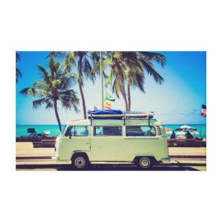Colorful Vintage Turquoise Camper Bus at Beach Canvas Print