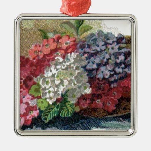 Colorful Vintage Verbenas Premium Square Ornament