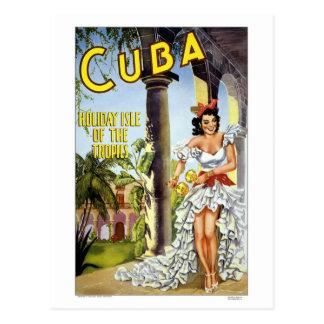 Colorful Vintage Visit Cuba Dancer Postcard