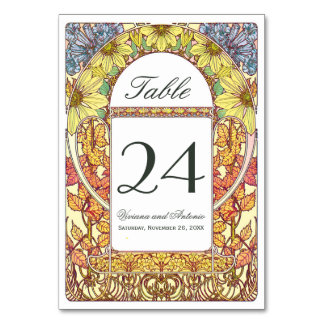 Colorful Vintage Wedding Table Numbers Table Card
