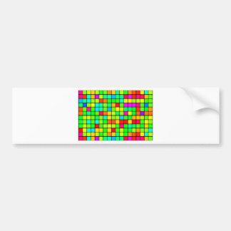 Colorful Vivid Design Retro Squares Bumper Sticker
