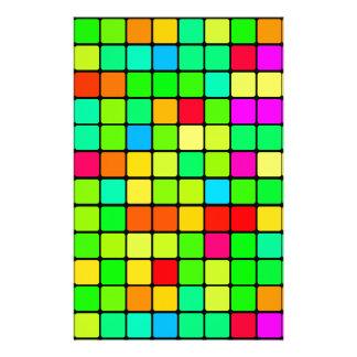 Colorful Vivid Design Retro Squares Personalised Stationery