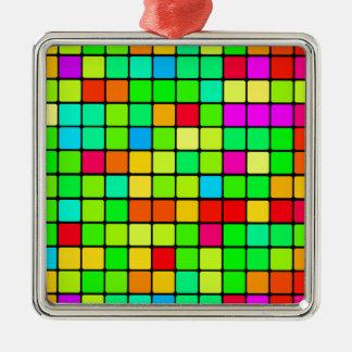 Colorful Vivid Design Retro Squares Silver-Colored Square Decoration