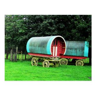 Colorful wagons.  Bunratty Village, Ireland Postcard