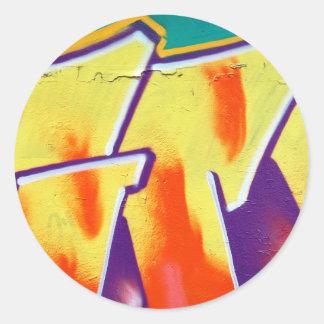 colorful wall graffiti round sticker
