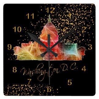 Colorful Washington DC Skyline Square Wall Clock