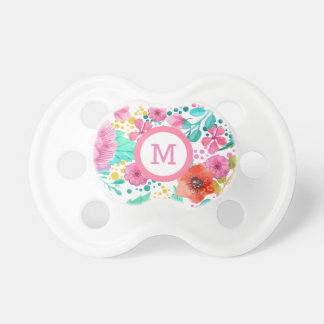 Colorful Water Color Floral Monogramed Pacifier