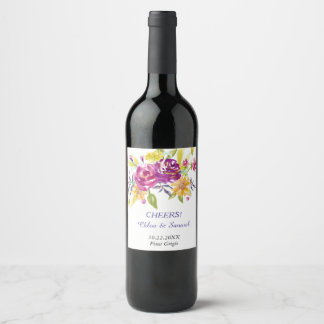 Colorful Watercolor Bouquet Personalized Wedding Wine Label