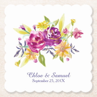 Colorful Watercolor Bouquet Wedding Paper Coaster