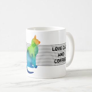 Colorful watercolor cat with text coffee mug