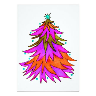 Colorful Watercolor Christmas Tree 13 Cm X 18 Cm Invitation Card