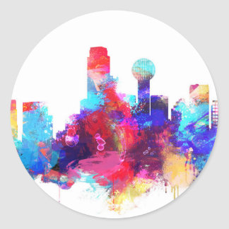 Colorful watercolor Dallas skyline sticker