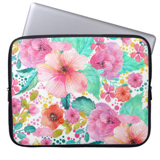 Colorful WaterColor Floral Collage Laptop Sleeve