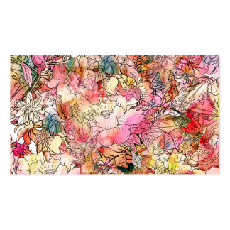 Colorful Watercolor Floral Pattern Abstract Sketch Pack Of Standard Business Cards