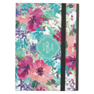 Colorful Watercolor Floral Pattern with Monogram Case For iPad Air