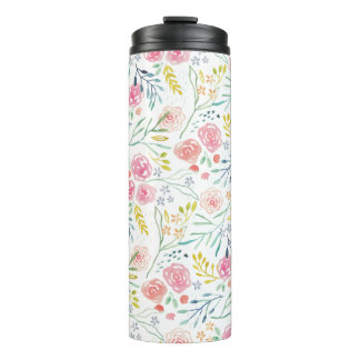 Colorful WaterColor Floral Thermal Tumbler