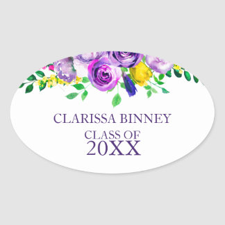 Colorful Watercolor flowers- Graduations Oval Sticker