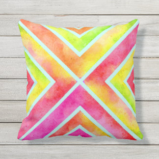 Colorful watercolor geometric chevron stripes outdoor cushion
