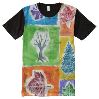 Colorful Watercolor Gouache Leaf Journal All-Over Print T-Shirt