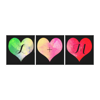 Colorful Watercolor Hearts with Initials Canvas Print