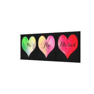 """Colorful Watercolor Hearts with """"We Are Blessed"""" Canvas Print"""