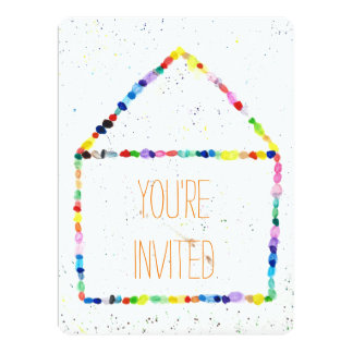 Colorful WaterColor house 'You're Invited' cards 17 Cm X 22 Cm Invitation Card